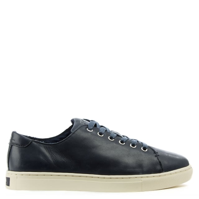 Waverly Navy Leather Lace Up Trainer