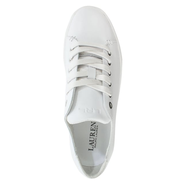 055656458 Lauren by Ralph Lauren Waverly White Leather Lace Up Trainer