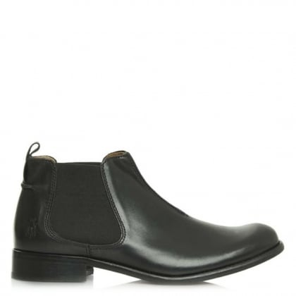 Waze Black Leather Chelsea Ankle Boot