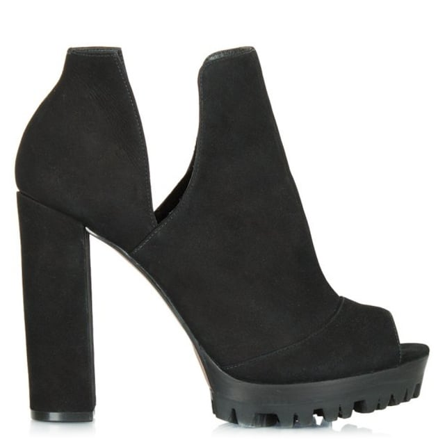 Wealth Black Suede Peep Toe Platform Shoe Boot