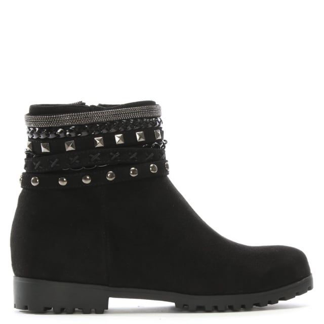 Weighton Black Suedette Embellished Ankle Boots