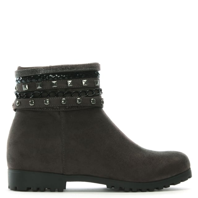 Weighton Grey Suedette Embellished Ankle Boots