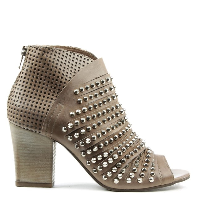 Westley Beige Leather Studded Peep Toe Boot