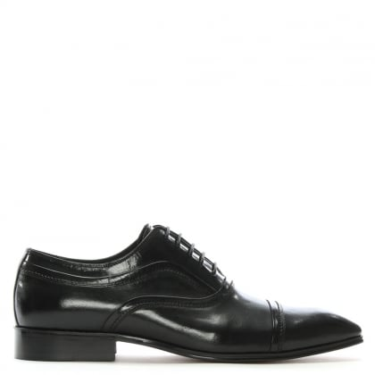 Weycroft Black Leather Contrast Trim Lace Up Shoes