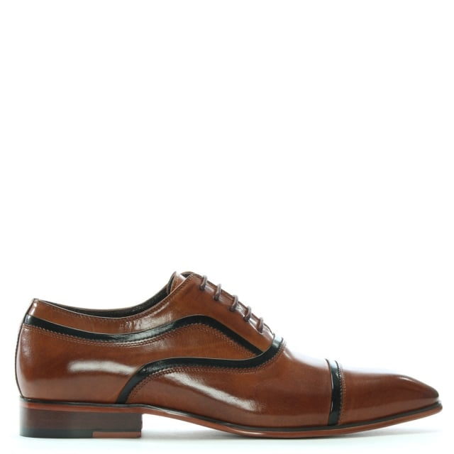 Weycroft Tan Leather Contrast Trim Lace Up Shoes