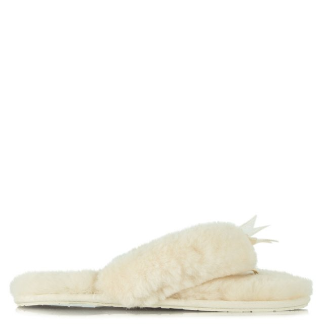 White Fluff Women's Sheepskin Slipper