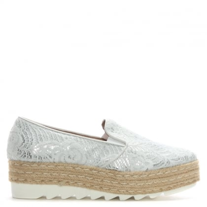 White Lace Coated Covered Espadrille Loafers