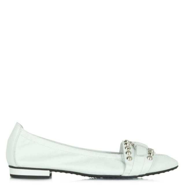 White Leather Chartreux Ballet Flat