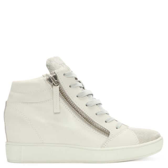 White Leather Concealed Wedge High Top Trainers