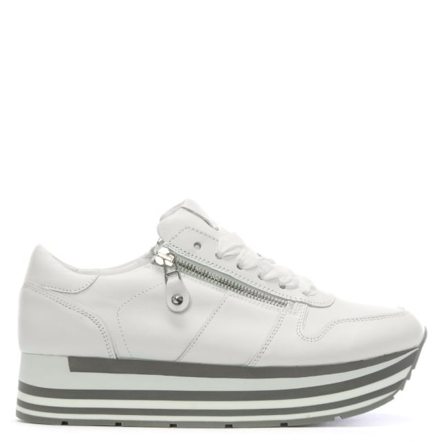 Kennel & Schmenger White Leather Flatform Sneakers