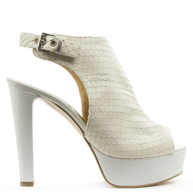 White Leather High Platform Reptile Slign Back Sandal