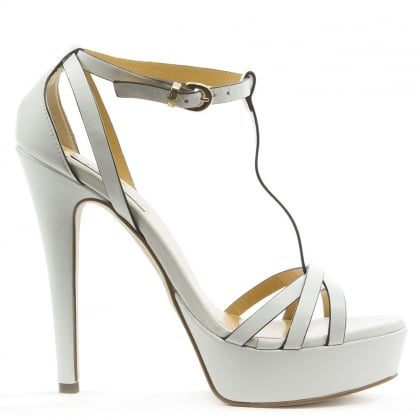 Mani Per Donna Piu White Leather High Platform T Bar Sandal