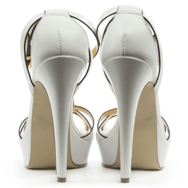 f52dcb898ddd Mani Per Donna Piu White Leather High Platform T Bar Sandal