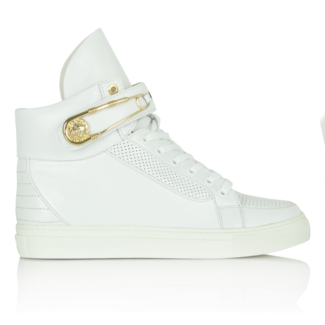 closer at on sale save up to 80% Versus Versace White Leather Invent High Top Trainer