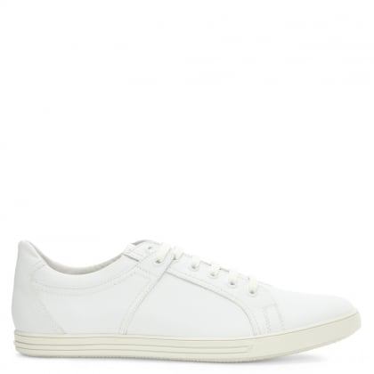 White Leather Lace Up Trainer