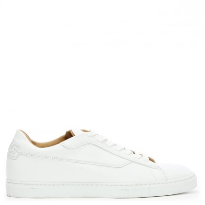 White Leather Low Top Lace Up Trainer