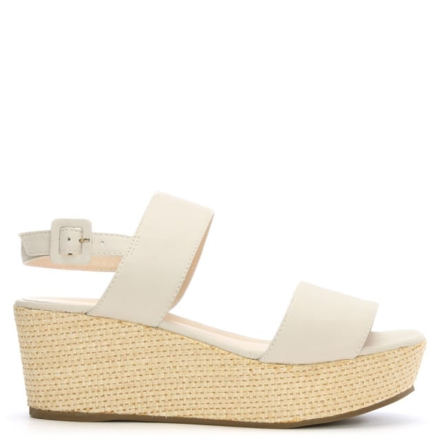 White Low Wedge Leather Sandal 1KclJ3TF