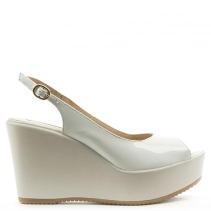 Donna Piu White Leather Mid Wedge Sling Back Sandal