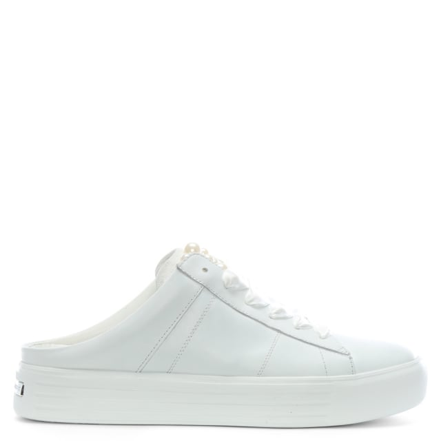 Kennel & Schmenger White Leather Pearl Embellished Mule Sneakers