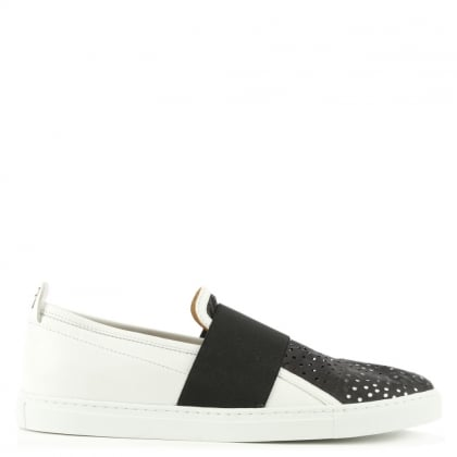 White Leather Perforated Elasticated Strap Trainer