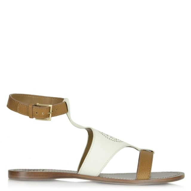6130bb5a6 Tory Burch White Leather Perforated Logo Sandal