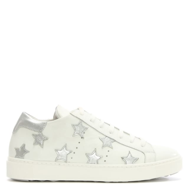 White Leather Star Motif Trainer
