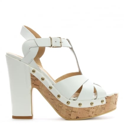 White Leather Studded Platform Sandals