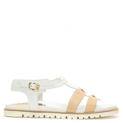 White Leather Two Tone Gladiator Sandal
