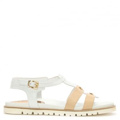 Loretta Pettinari White Leather Two Tone Gladiator Sandal d08b2c2e57