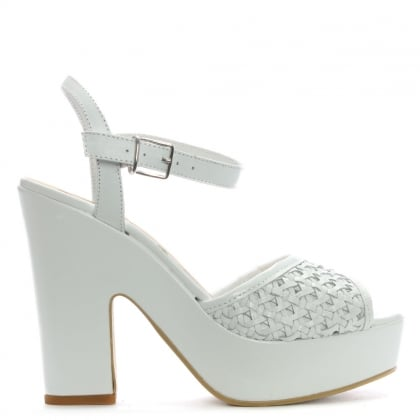 White Leather Woven Platform Sandals