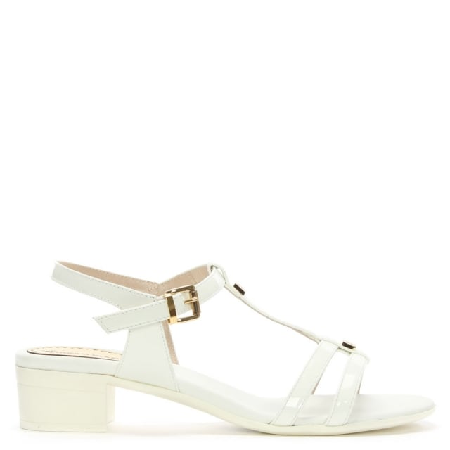 White Patent Leather T Bar Heeled Sandal