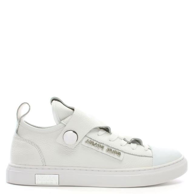 Armani Jeans White Pebbled Leather Low Top Sneakers