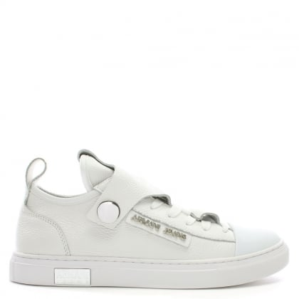 White Pebbled Leather Low Top Sneakers