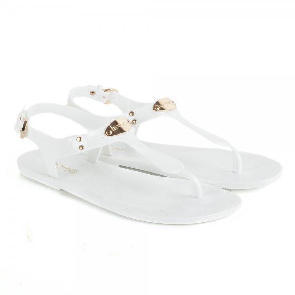 0d7a4e17f5e93 Michael Kors White Women s Logo Plate Flat Sandal