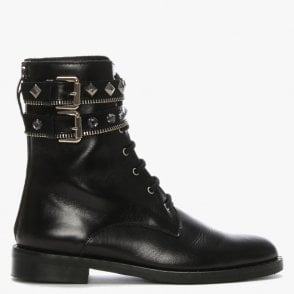 c56777656 Whitfield Black Leather Jewel Embellished Biker Boots