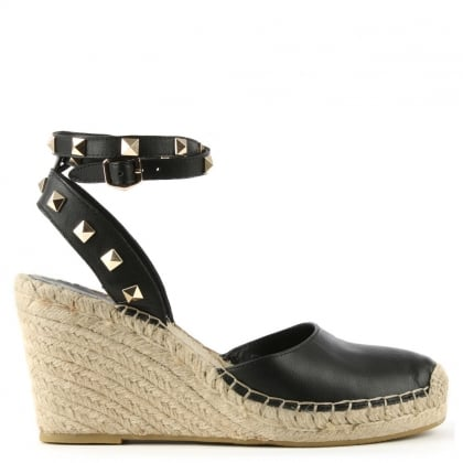 Whitney Black Leather Studded Wedge Espadrille