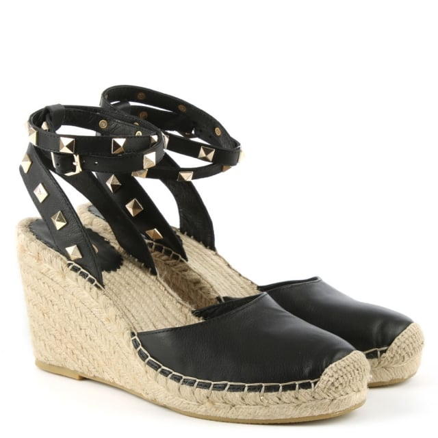 c0d5d70974f Ash Whitney Black Leather Studded Wedge Espadrille