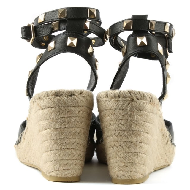 07985df7d8a Whitney Black Leather Studded Wedge Espadrille