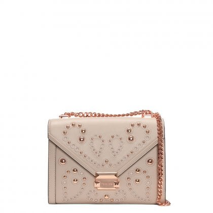Whitney Large Embellished Soft Pink Leather Shoulder Bag