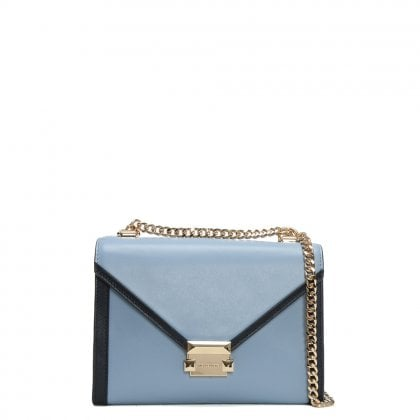 Whitney Large Pale Blue & Admiral Leather Shoulder Bag