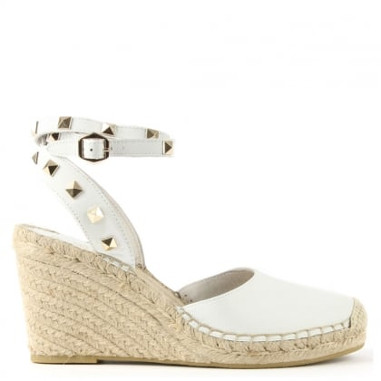 Whitney White Leather Studded Wedge Espadrille