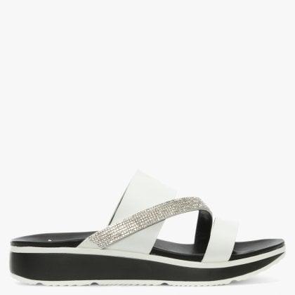 66fab082d30e82 DF By Daniel Wicket White Diamante Asymmetric Strap Sandals