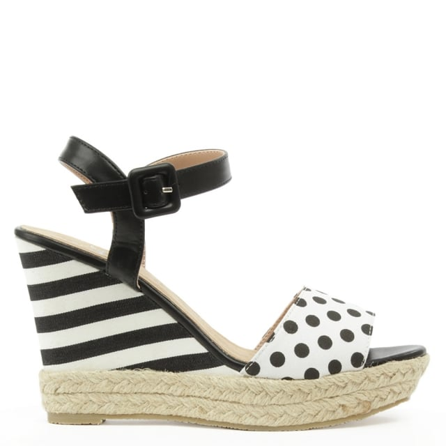 Widnes Black Stripe & Polka Dot Wedge Sandal