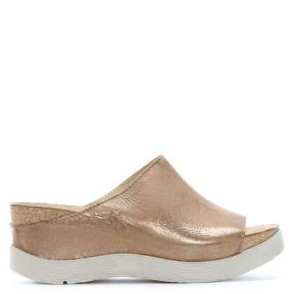 Wigg Gold Leather Wedge Mules