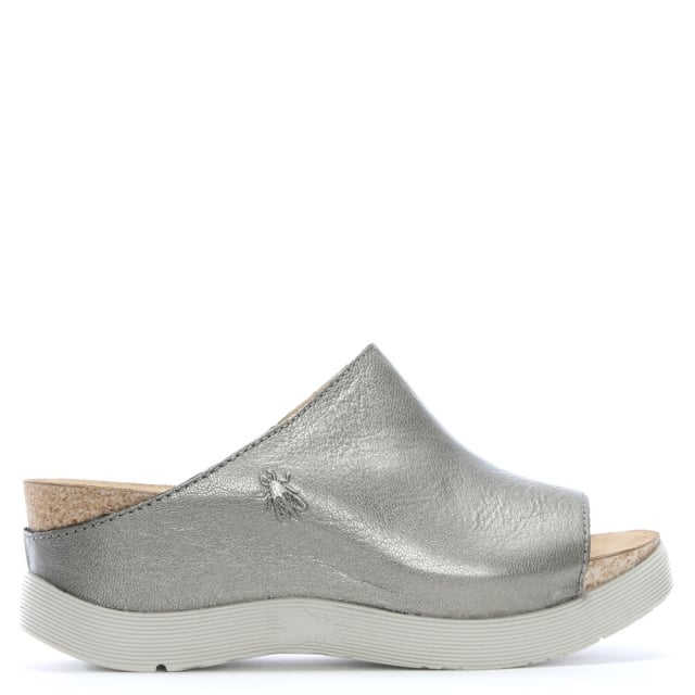 b950ae91a13 Fly London Wigg Silver Leather Wedge Mules