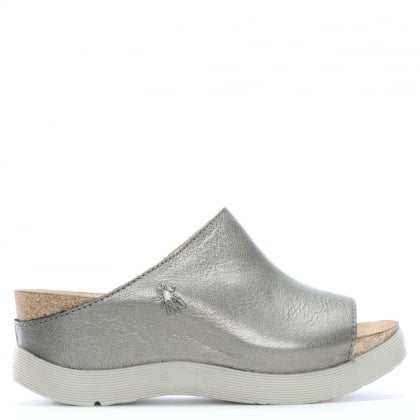Wigg Silver Leather Wedge Mules