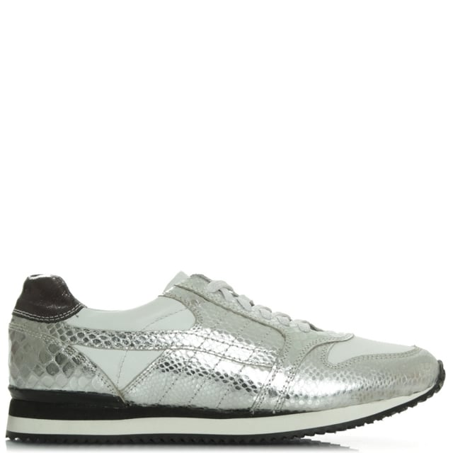 Wiggington Silver Metallic Leather Lace Up Trainer