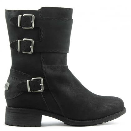 Wilcox Black Leather Biker Boot