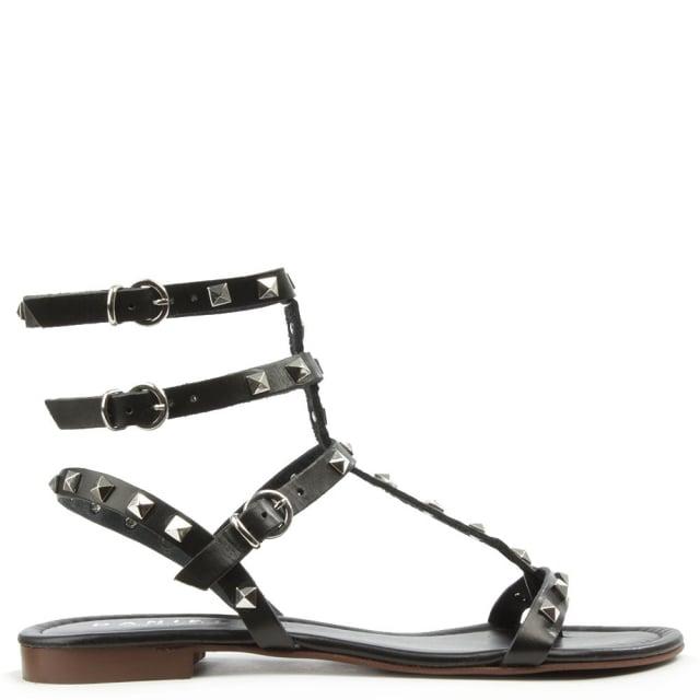 2c06752fa Daniel William Square Black Leather Studded Gladiator Sandal
