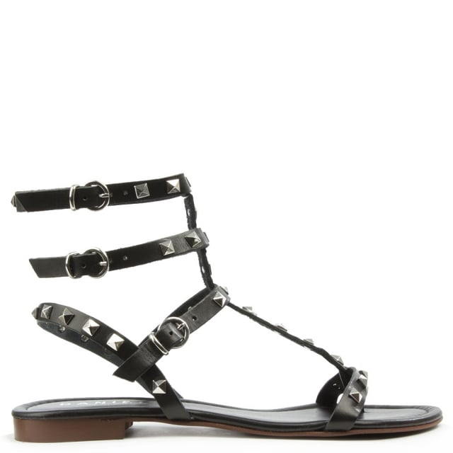 William Square Black Leather Studded Gladiator Sandal